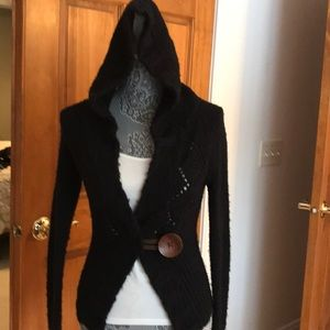 Free people black hooded sweater..